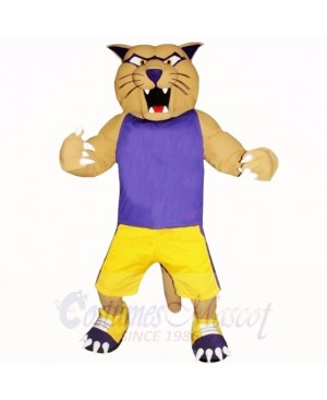 Sport Cougar with Purple Shirt Mascot Costumes Cartoon