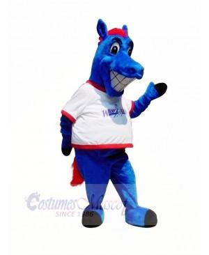 Happy Blue Horse Mascot Costumes Cartoon